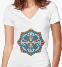 Round ethnic pattern Women's Fitted V-Neck T-Shirt