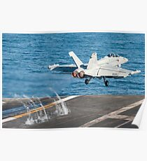 An EA-18G Growler launches from the flight deck of USS Harry S. Truman. Poster