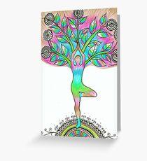 Tree pose Asana Vrkasana Yoga drawing Greeting Card