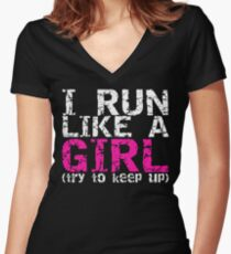 Run Like a Girl Women's Fitted V-Neck T-Shirt