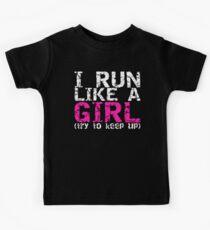 Lauf wie ein Mädchen Kinder T-Shirt