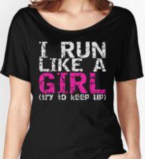 Camiseta ancha para mujer Corre como una niña