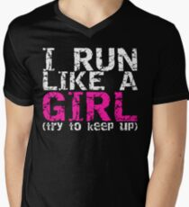 Run Like a Girl Men's V-Neck T-Shirt