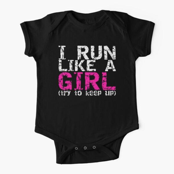 Corre como una chica Body de manga corta para bebé