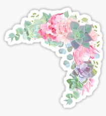 Wild desert floral crescent shaped vector frame with succulents, echeveria Sticker
