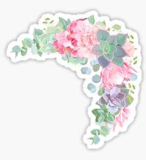 Blühender geformter Vektorrahmen der wilden Wüste mit Succulents, Echeveria Sticker