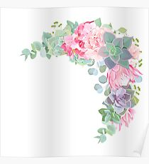 Wild desert floral crescent shaped vector frame with succulents, echeveria Poster