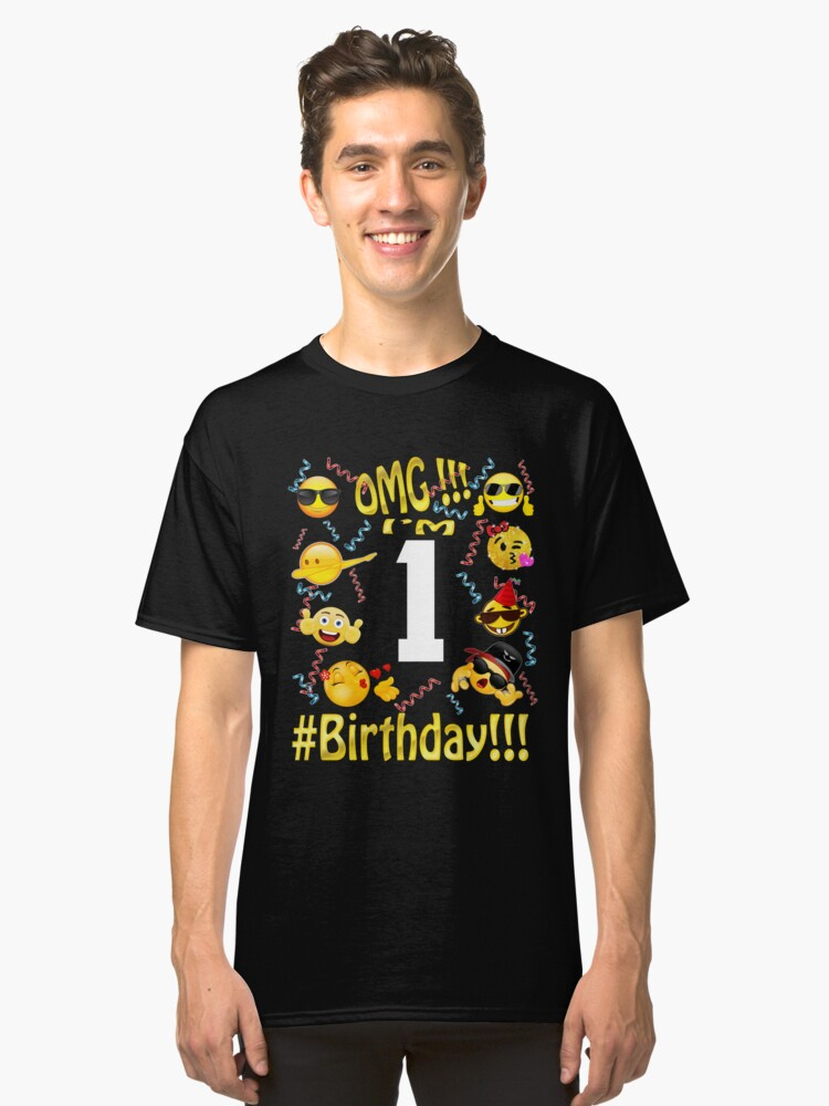 Emoji Birthday Shirt For 1 One Year Old Girl Boy Party Classic T Front