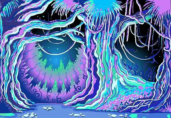 Zaubergeschichte Blacklight Forest Hintergrund von aurielaki