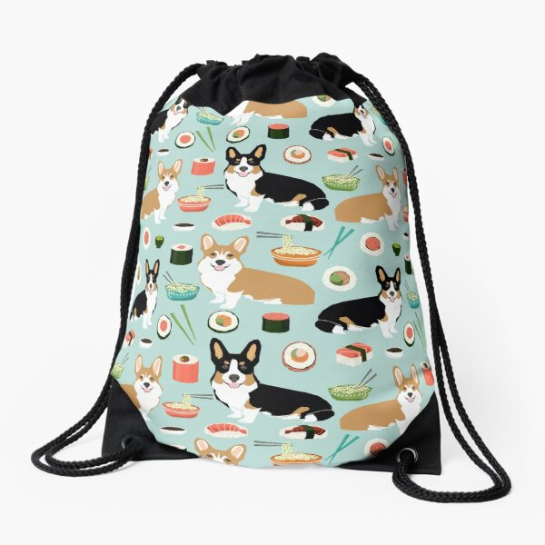 Corgi welsh corgi sushi food dog gifts dog breeds by pet friendly Drawstring Bag