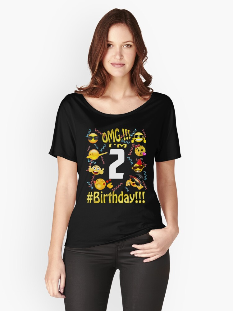 Emoji Birthday Shirt For 2 Two Year Old Girl Boy Party Womens Relaxed Fit T By Kelvil
