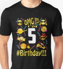 Emoji Birthday Shirt For 5 Five Year Old Girl Boy Party Unisex T