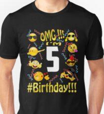 Emoji Birthday Shirt For 5 Five Year Old Girl Boy Party Unisex T
