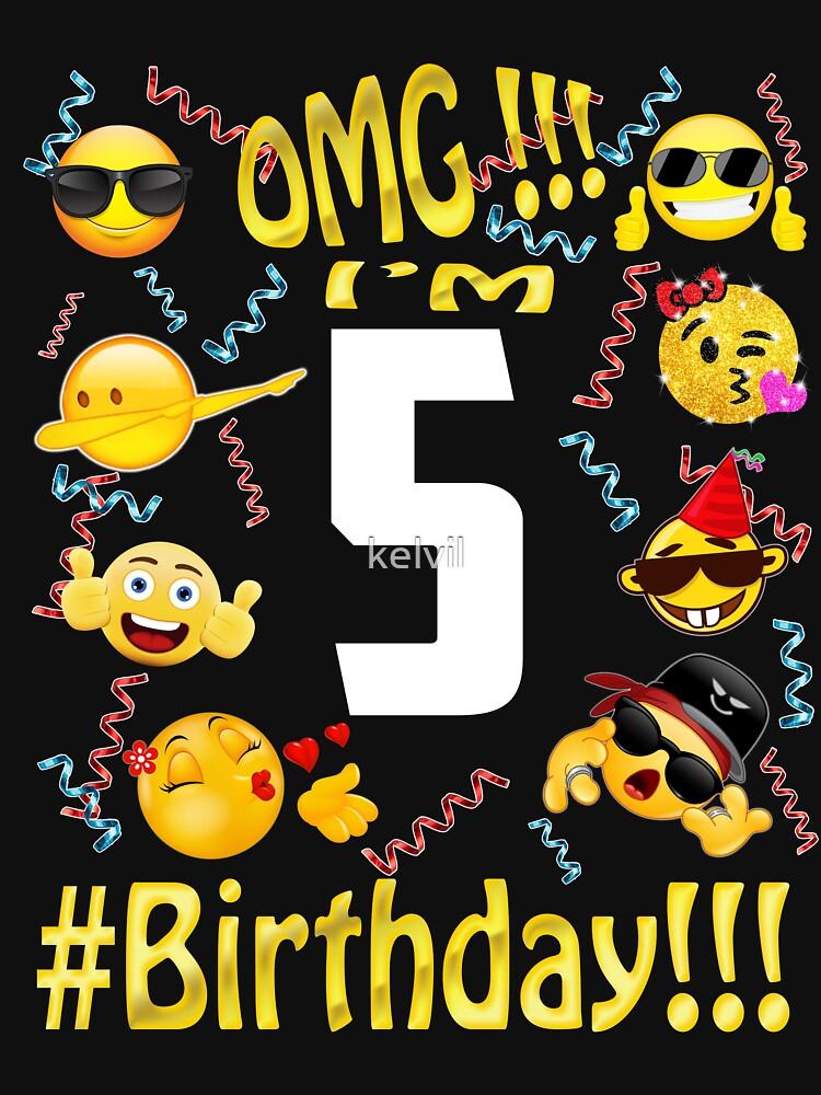 Emoji Birthday Shirt For 5 Five Year Old Girl Boy Party By Kelvil