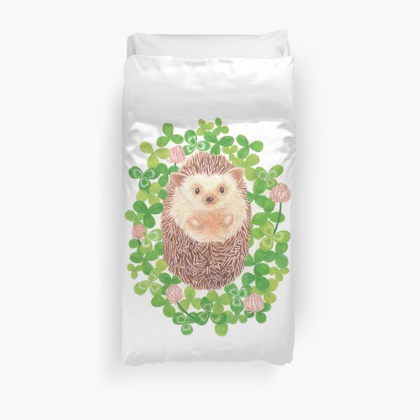 Hedgehog in cloverfield Duvet Cover
