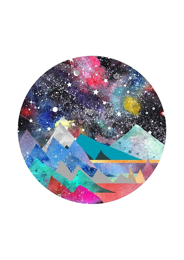 Aries Constellation Watercolor Mountains by Emery Smith