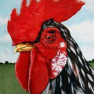 """""""Rooster"""" - farm animal portrait  by LindaAppleArt"""