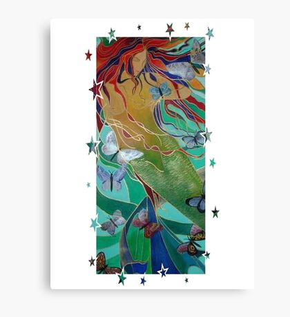 Mermaid Swimming with Butterflies Canvas Print