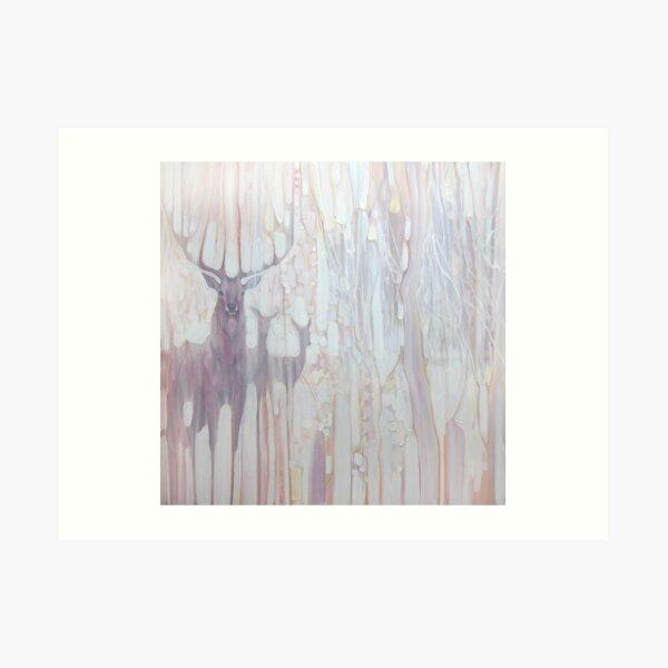 Spirit Guides - deer in a winter forest, art nouveau style Art Print
