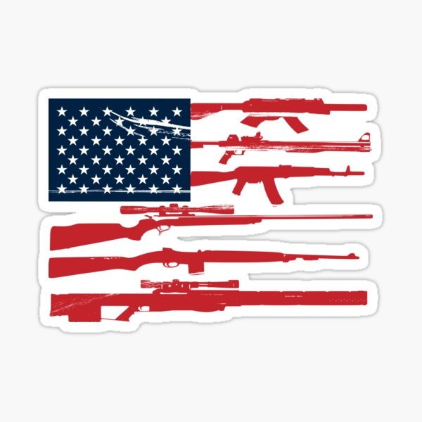 Support 2nd Amendment Gun Rights American Flag Sticker