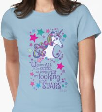 Unicorn Looking at the Stars Oscar Wilde Quote Womens Fitted T-Shirt