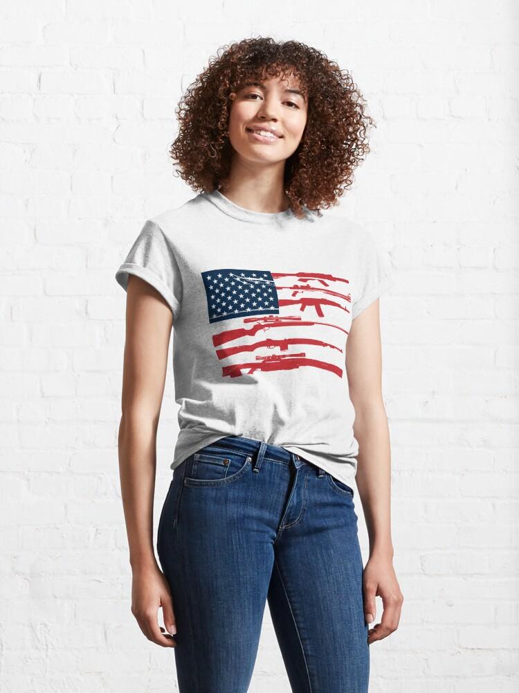 Alternate view of Support 2nd Amendment Gun Rights American Flag Classic T-Shirt