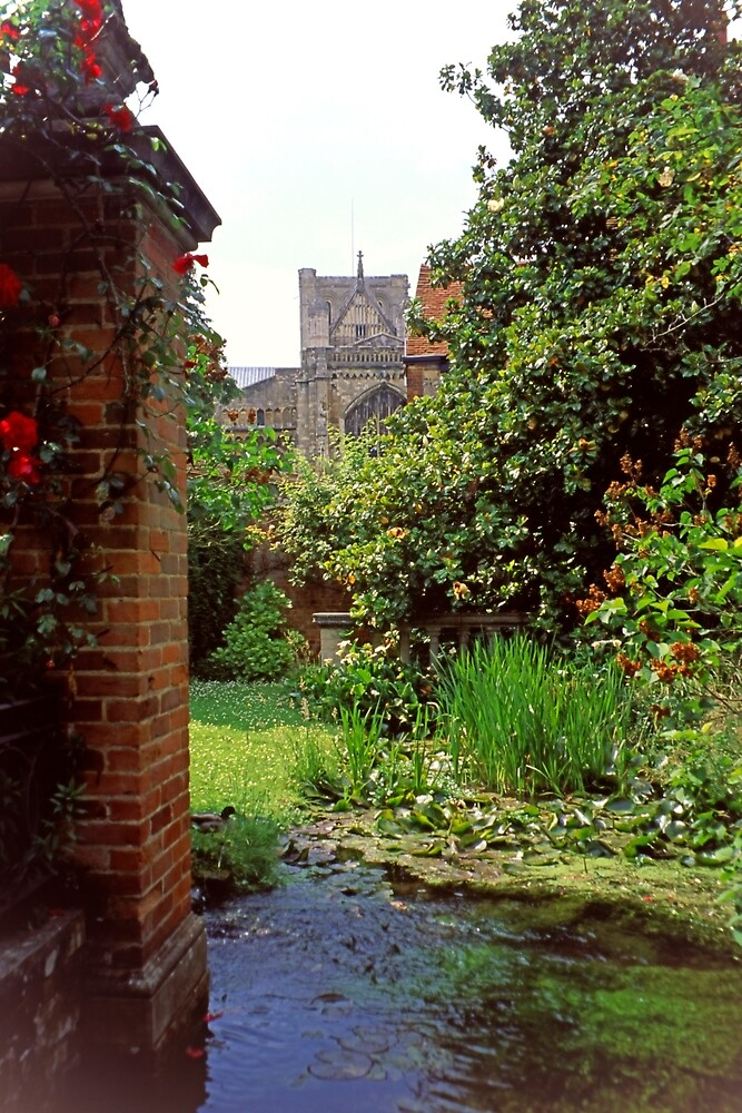 Winchester Cathedral Through a Close Garden by Priscilla Turner