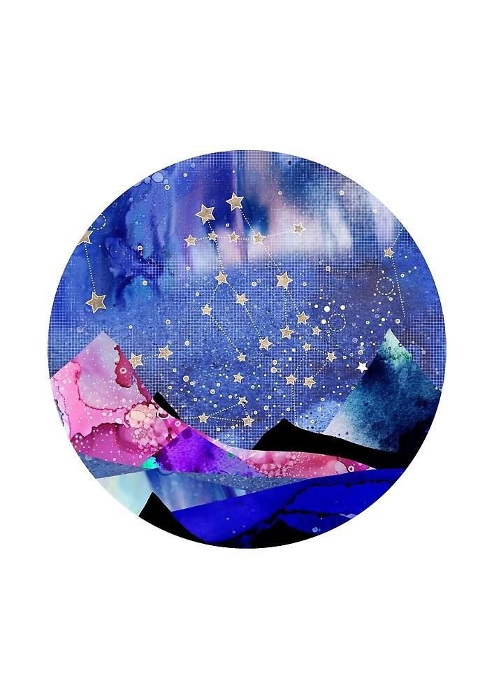 Gemini Constellation Watercolour Landscape by Emery Smith