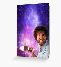 Bob Ross Paints Space Greeting Card