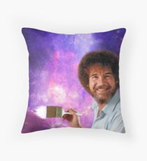 Bob Ross Paints Space Throw Pillow