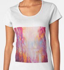 Hart's Desire - an autumn woodland landscape with white stag Women's Premium T-Shirt