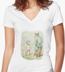 Jemima Puddle-Duck & the Fox by Beatrix Potter Women's Fitted V-Neck T-Shirt