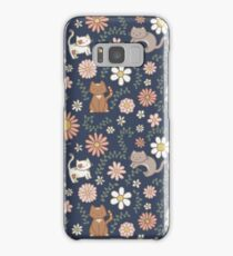 Flower Meower (Navy) Samsung Galaxy Case/Skin