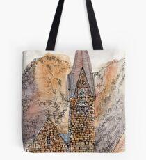 Travelsketch- Church in Hallstatt, Austria Tote Bag