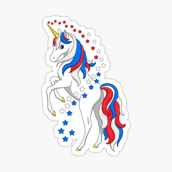 American Flag Patriotic Red White Blue Unicorn Sticker