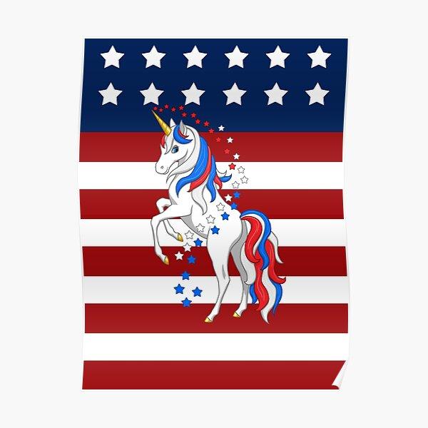 American Flag Patriotic Red White Blue Unicorn Poster