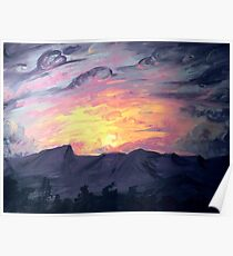 Sunset Acrylic Painting  Poster