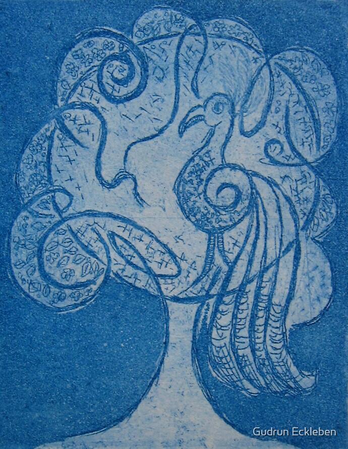 Blauer Schmuckvogel / Blue Ornamental Bird by Gudrun Eckleben