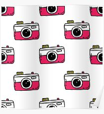 camera seamless doodle pattern Poster