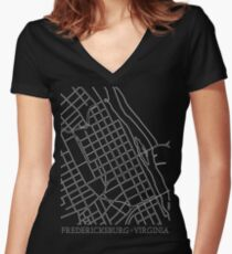 Fredericksburg City Grid Women's Fitted V-Neck T-Shirt
