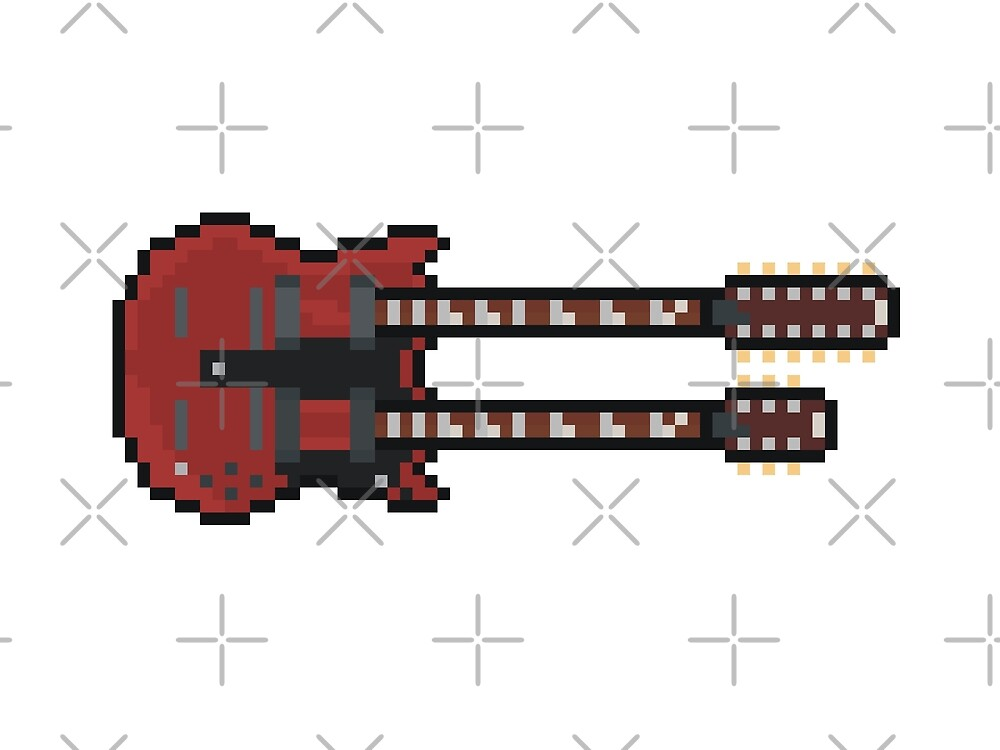 Pixel Big Red Double Neck Guitar by gkillerb