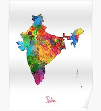 India Watercolor Map Poster