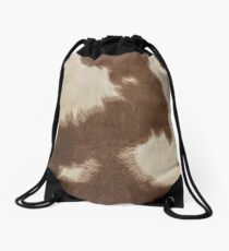 Brown Cowhide Drawstring Bag