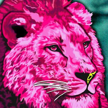 Pink Lion  by JenStedmansArt