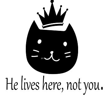 Funny message cat, he lives here by Erme