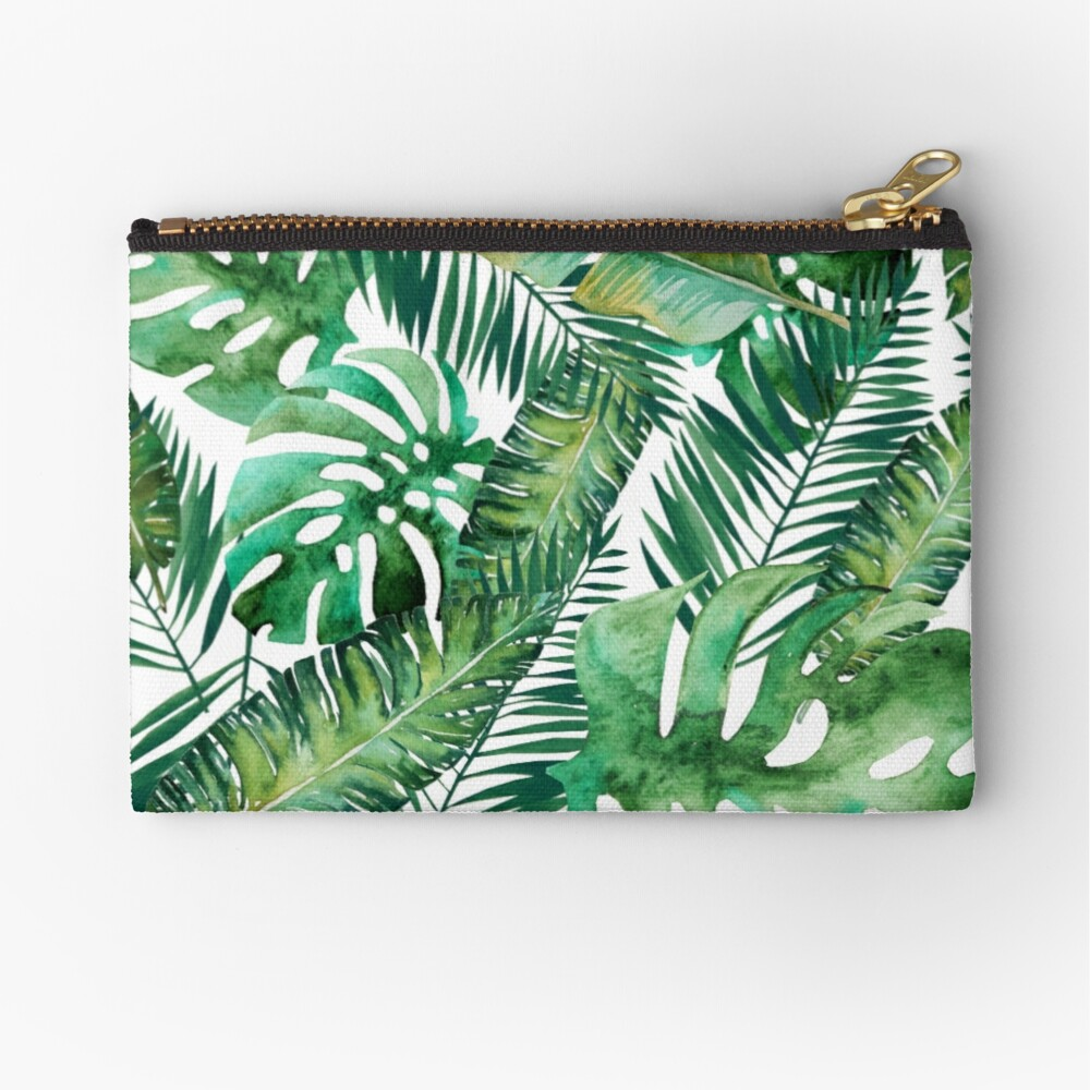 Monstera Banana Palm Leaf Zipper Pouch