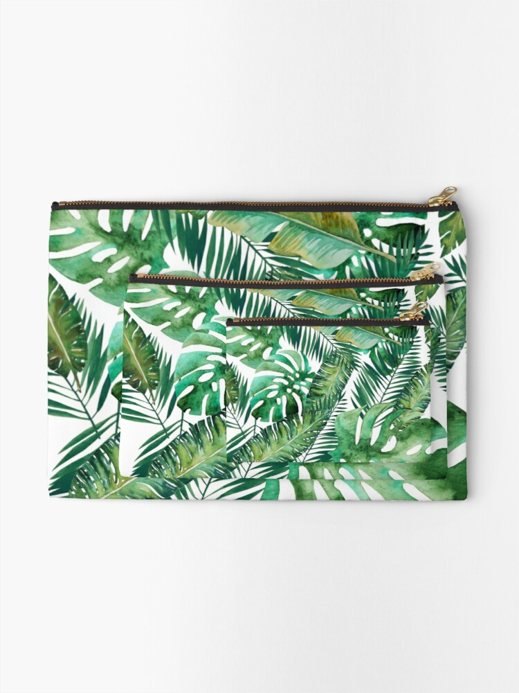 Alternate view of Monstera Banana Palm Leaf Zipper Pouch