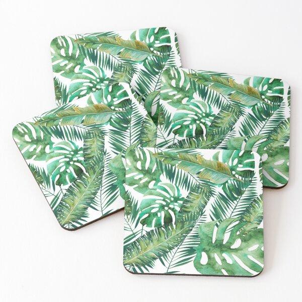 Monstera Banana Palm Leaf Coasters (Set of 4)