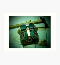 Dark Steampunk Gas Mask and Goggles Art Print