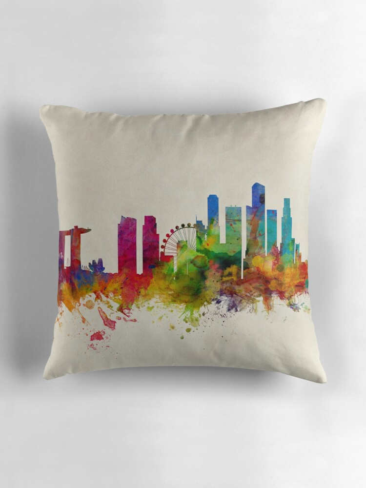 "Singapore Skyline"" Throw Pillows by Michael Tompsett"